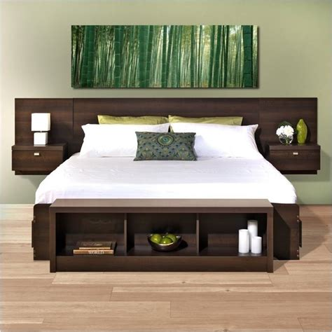 King Floating Headboard Bowery Hill King Platform Storage Bed With Floating Headboard Bh 437329 265282