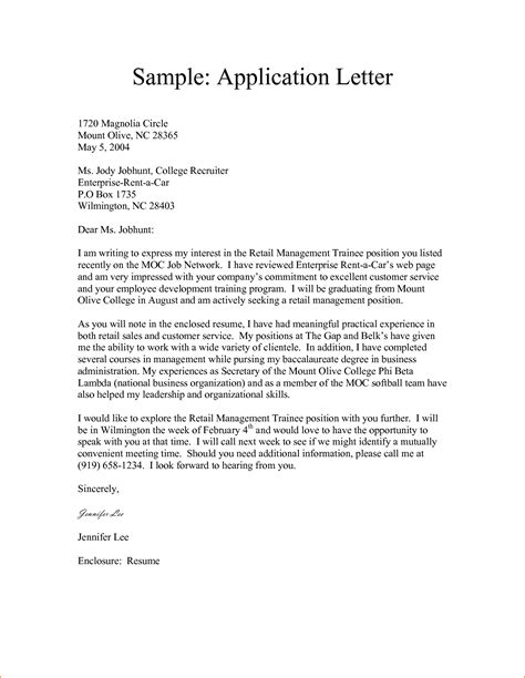 letter of format 11 sle of application letters basic appication