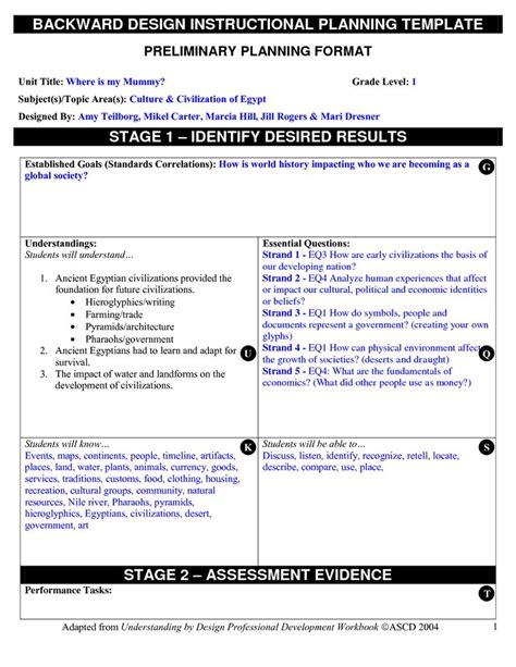 backwards by design lesson plan template backward planning template backward design