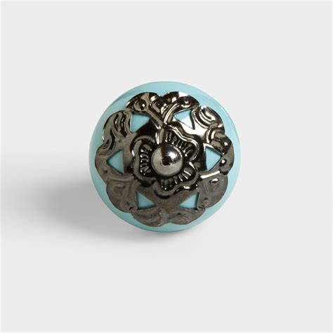 Turquoise Knobs by Turquoise Ceramic And Metal Knobs Set Of 2 World Market
