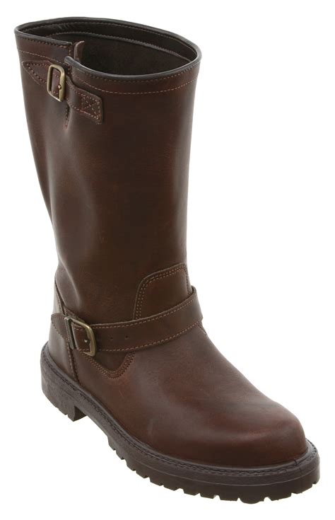 womens office passenger biker boot new brown leather