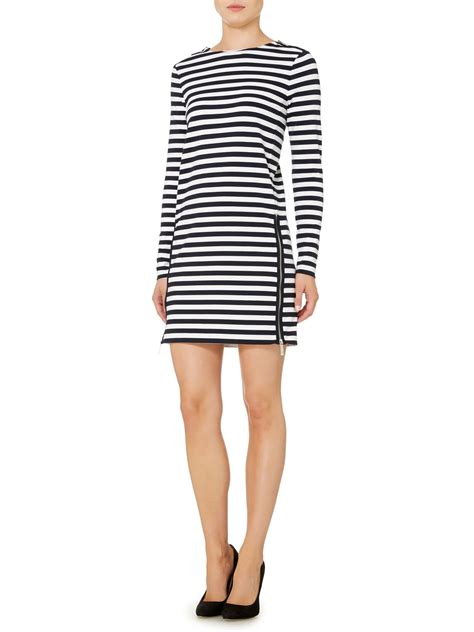 B18 Dress Zip White Stripe michael kors sleeve zip detail stripe dress in blue lyst