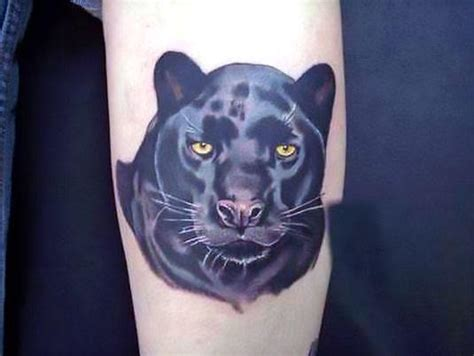 amazing black leopard tattoo idea