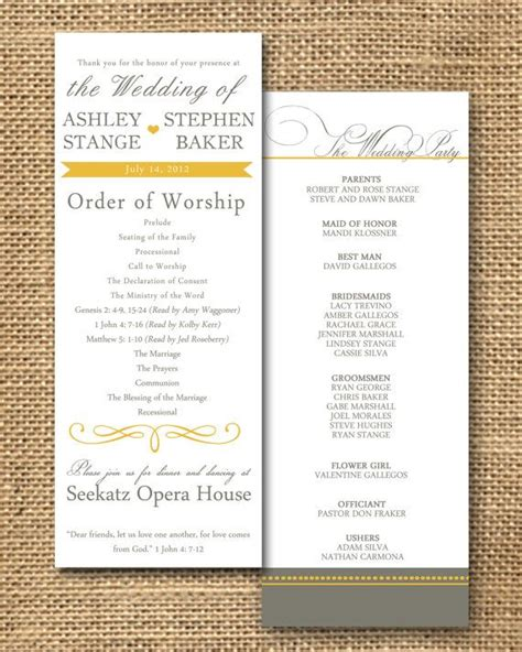 wedding program  page double sided  color