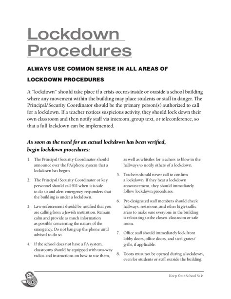 Sle Lockdown Drill Letter To Parents school security checklist storch 2013