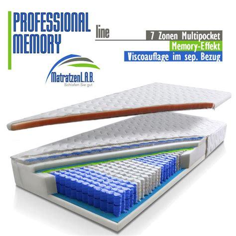 matratze hãīrtegrad 4 7 zonen taschenfederkern matratze prof memory 100x200 sep
