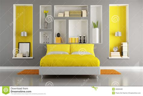 Grey And Yellow Modern Bedroom Yellow And Gray Modern Bedroom Stock Illustration Image