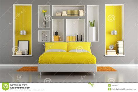 graues und gelbes schlafzimmer gelbes und graues modernes schlafzimmer stock abbildung