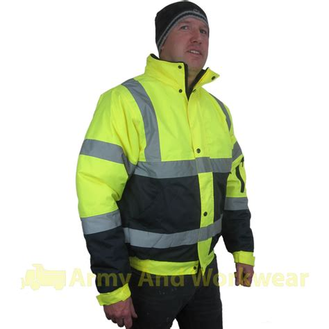 Jacket Boomber Waterproof 2 two tone hi viz bomber mens reflective waterproof padded
