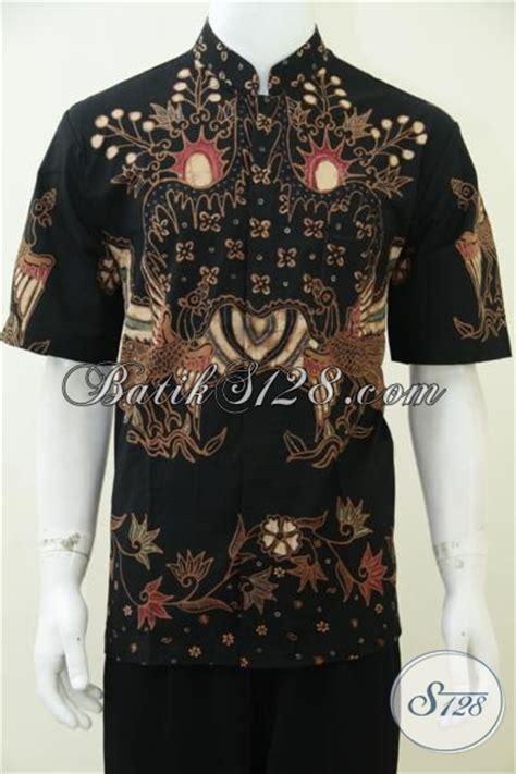 Baju Muslim Batik Eksklusif Baju Batik Muslim Lengan Pendek Warna Hitam Elegan