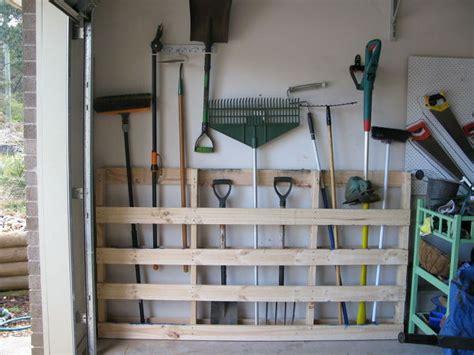 Garage Shelving From Pallets Garage Storage For Garden Tools From Pallet Hometalk