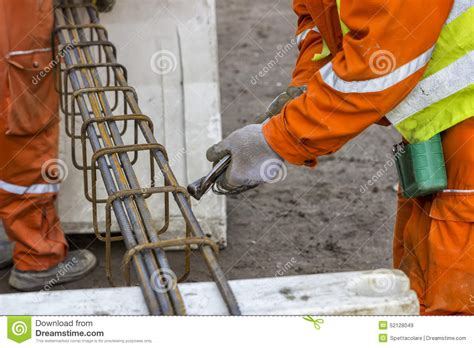 worker tying rebar stock photo image 52128049