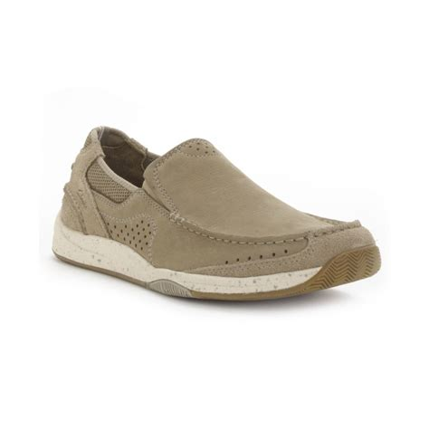 clarks slip on loafers clarks vestal nubuck slip on loafers in brown for