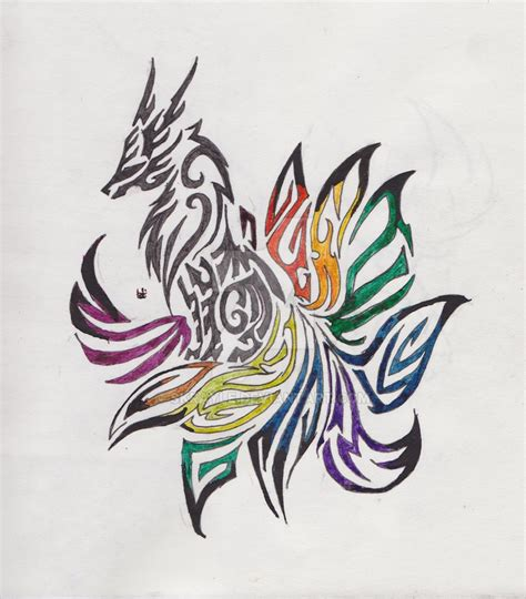 ninetails tribal tattoo by skrayle on deviantart
