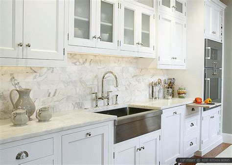 Tumbled Marble Kitchen Backsplash by 4 White Calacatta Gold Marble Subway White Countertop Idea