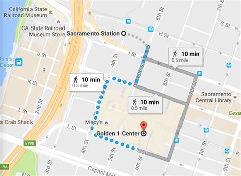 map of center capitol corridor s service to golden 1 center in
