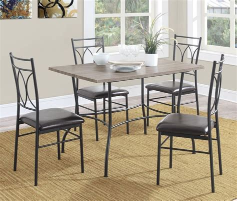 Metal Kitchen Table 5 Dining Room Set Rustic Wood Metal Kitchen Table 4 Chairs Breakfast Nook Ebay
