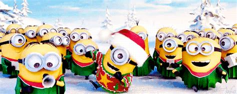 merry christmas  happy  year minions animated gif