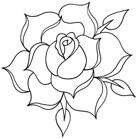simple rose tattoo outline line drawing cliparts co
