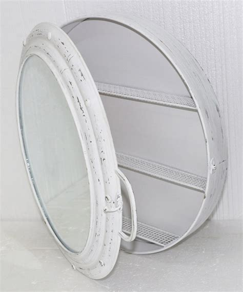 Clever Room Dividers - white metal porthole mirror cabinet modern medicine cabinets