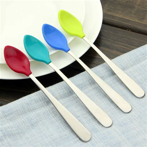 Soft Silicone Spoon stainless steel handle soft silicone baby feeding spoons