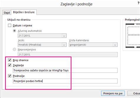 powerpoint tutorial na hrvatskom dodavanje zaglavlja ili podnožja brošura ili bilježaka