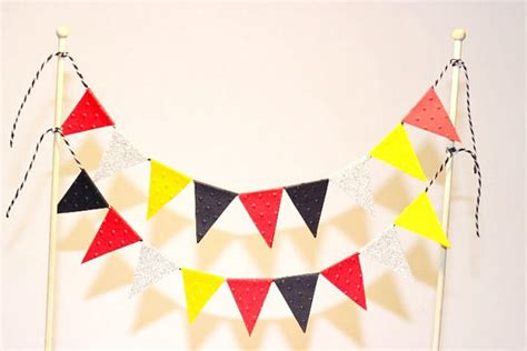 Banner Mickey Mouse Bunting Flag Mickey Mouse cake bunting cake topper cake banner flags suit mickey mouse theme confetti creations