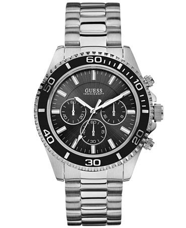 guess s chronograph stainless steel bracelet