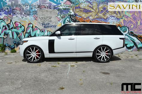 white land rover black rims range rover savini wheels