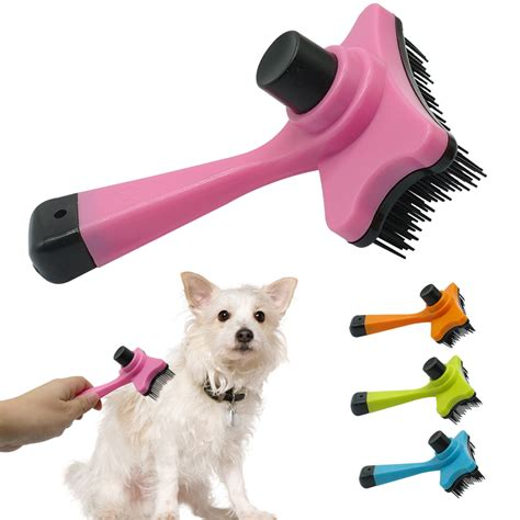 self clean brush puppy hair fur grooming shedding comb