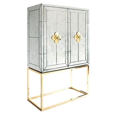 Mirrored Bar Cabinet Jonathan Adler Delphine Geometric Mirrored Bar