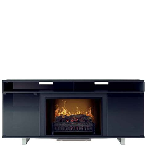 penelope lite black media center electric fireplace wall