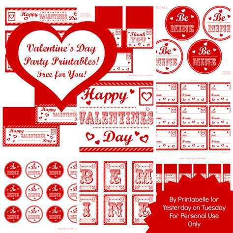 free printable valentine party decorations free mega set valentine s day party printables