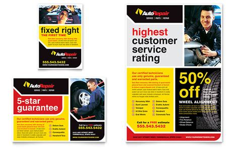 car service ad auto repair flyer ad template design