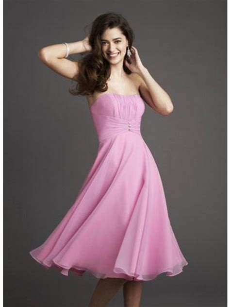 pink bridesmaid dresses chiffon strapless pink knee length bridesmaid dresses mybridaldress prlog