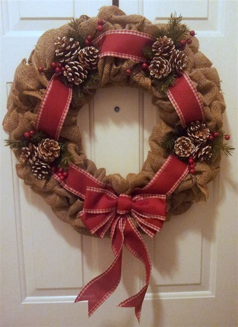 christmas burlap wreath with country red ribbon pine