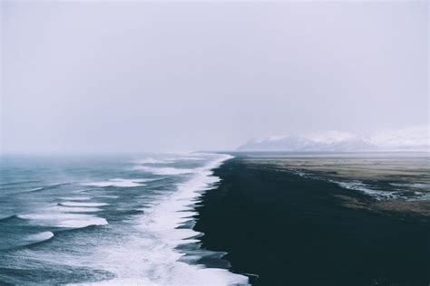 landscape waves mist field sea black sand wallpapers