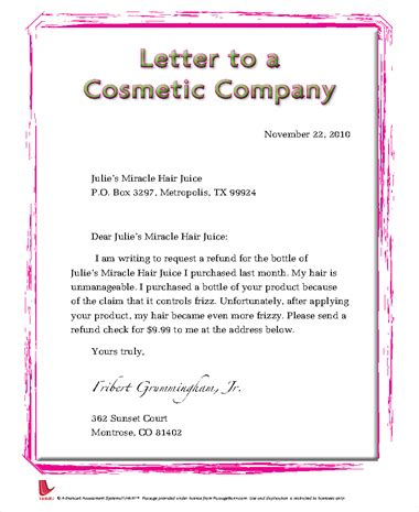 Complaint Letter To Cosmetic Company Passagbank A Passage Search Engine For Teachers