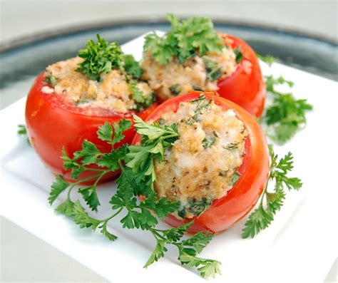 Main Dish Vegan Recipes - cheese stuffed tomatoes the novice chef