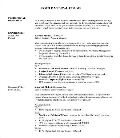 Medical Professional Resume Template