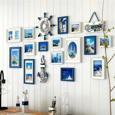 12 pcs reality wood picture photo frame wall set art work 15 pcs set blue white black photo frame set for home wall