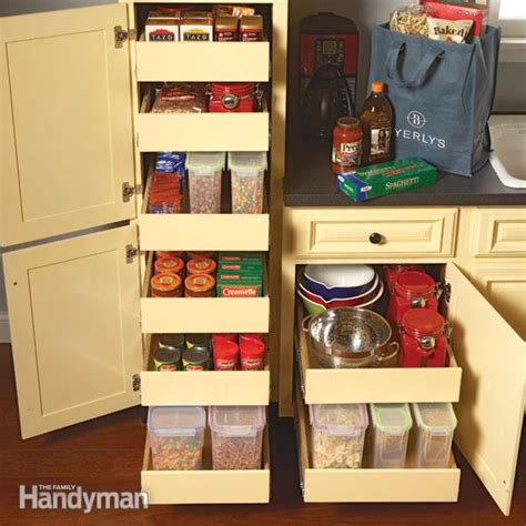 kitchen cabinet shelf organizers kitchen storage cabinet rollouts family handyman