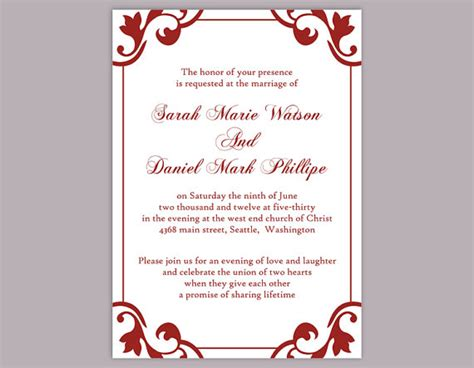 Diy Wedding Invitation Template Editable Word File Instant Download Elegant Printable Invitation Maroon Wedding Invitation Templates