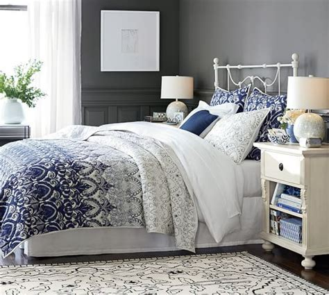 navy and gray bedding keller stitched quilt shams pottery barn beautiful