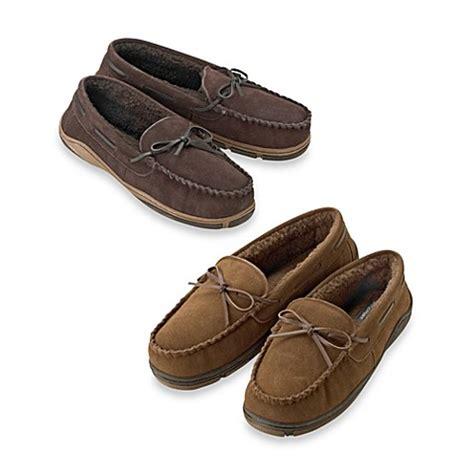rockport moccasin slippers rockport 174 s genuine suede moccasin slipper bed bath
