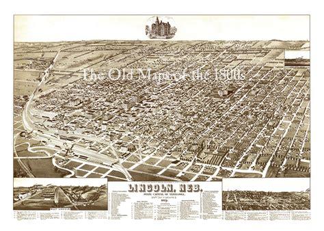 lincoln nebraska paper lincoln nebraska in 1889 bird s eye view map aerial