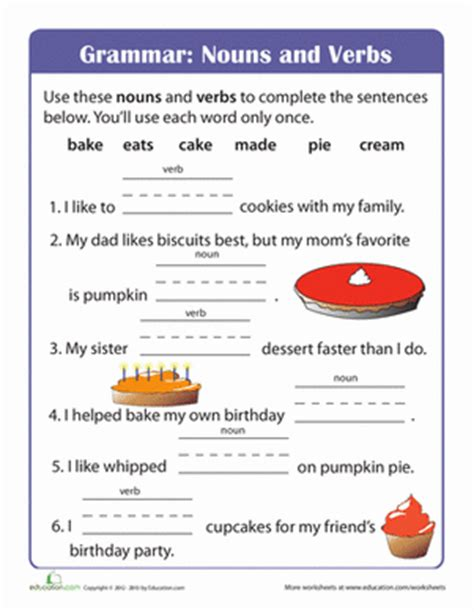 Noun And Verb Worksheets by Nouns And Verbs Worksheets Sentences Http Www Pic2fly