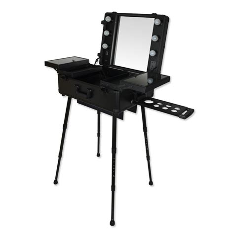 Professional Vanity Table High Quality Professional Makeup Trolley Mount Dressing Table Large Belt Bulb Cosmetic Box With