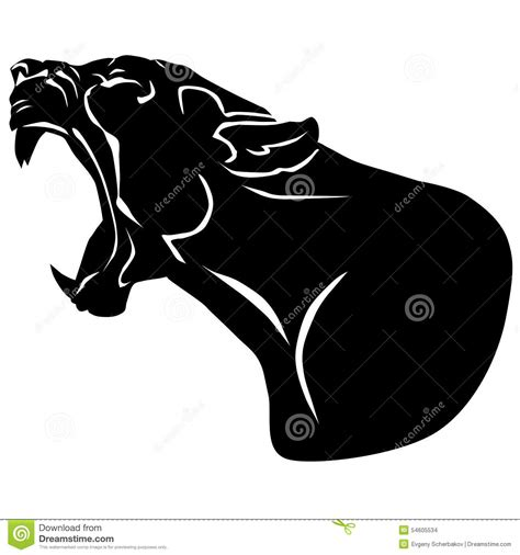 snarling black panther with huge tusks stock illustration