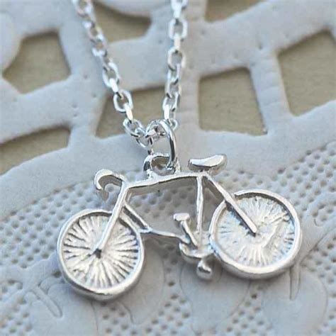 Handcrafted Bikes - handmade silver bicycle charm necklace cycling souvenirs
